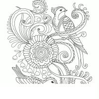 Узор птицы и цветы