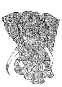 Арт терапия слон из цветочных узоров