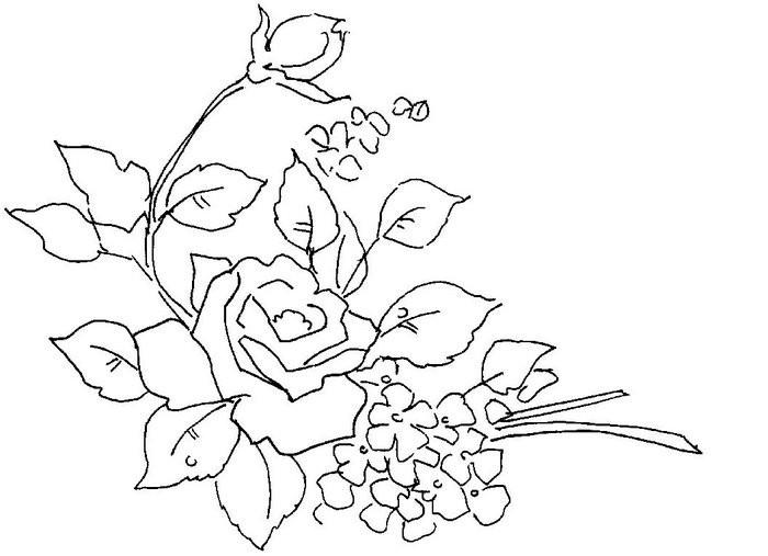 Трафарет цветка розы с бутонами и маленьками цветами