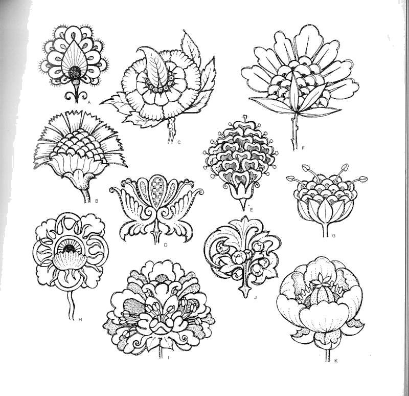 Трафарет очень красивых цветков