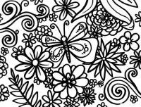 Сложные цветочные узоры с бабочкой