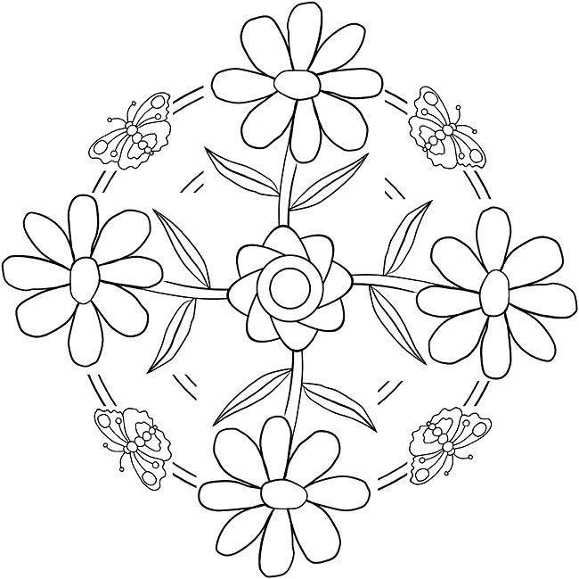 Цветы в круглом узоре с бабочками