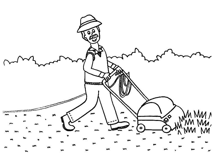 Садовник стрижет газон с газонокосилкой