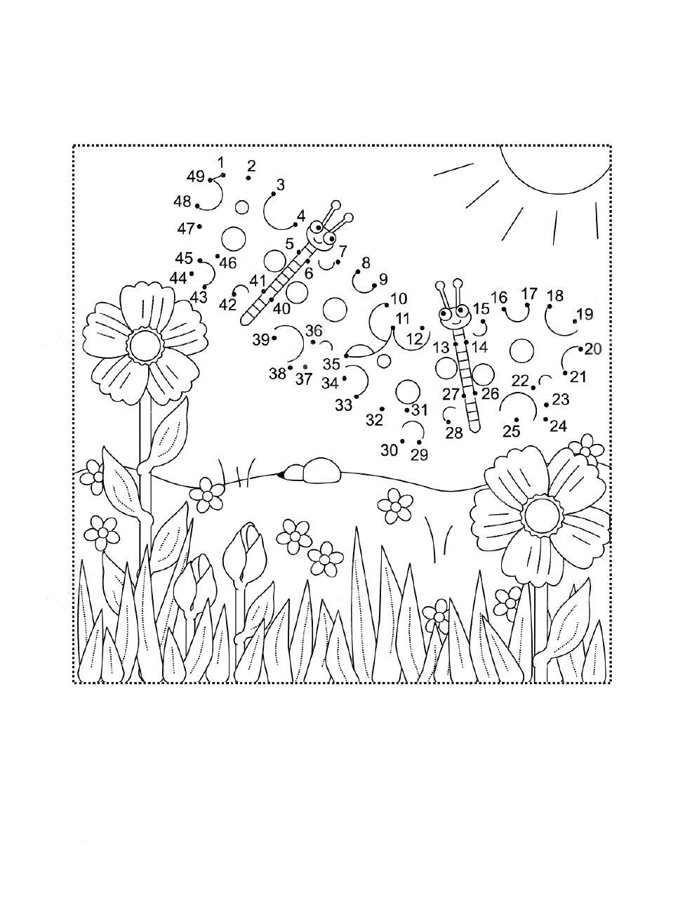 Трава на лужайке с цветами соедини по цифрам и раскрась
