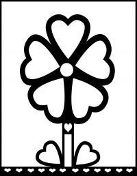 Цветок для маленьких с сердечками и жирным контуром