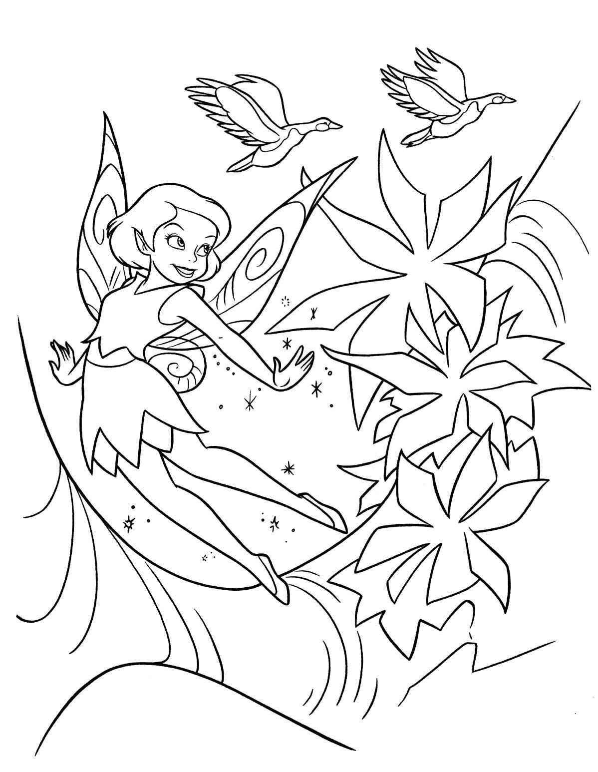 Раскраска фея и цветы.